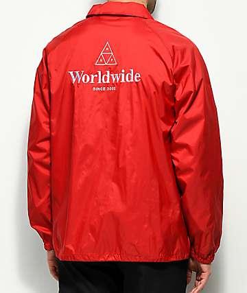 HUF Worldwide chaqueta entrenador en rojo