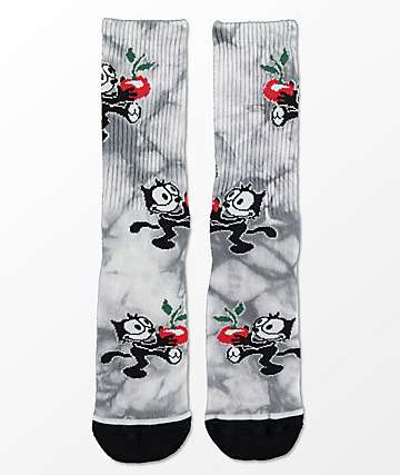 HUF X Felix The Cat Crystal Wash Black Crew Socks