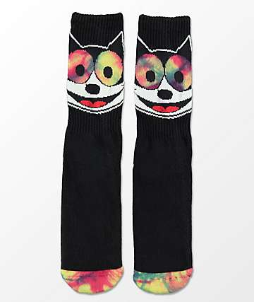 HUF X Felix The Cat Hypnotized Black Crew Socks