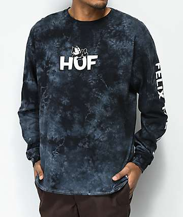 HUF X Felix the Cat Black Crystal Wash Long Sleeve T-Shirt