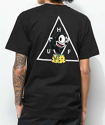 HUF X Felix the Cat Triple Triangle Black T-Shirt