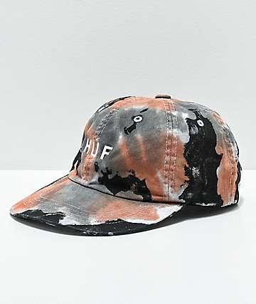 HUF gorra negra y marrón con efecto tie dye