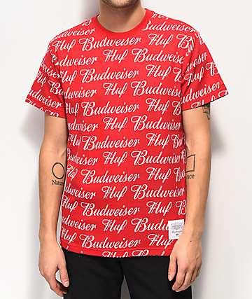 HUF x Budweiser All Over camiseta roja