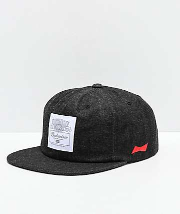 HUF x Budweiser Label Black Denim Strapback Hat