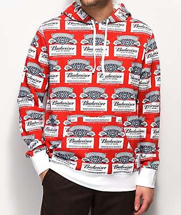 HUF x Budweiser Label Red & White Hoodie
