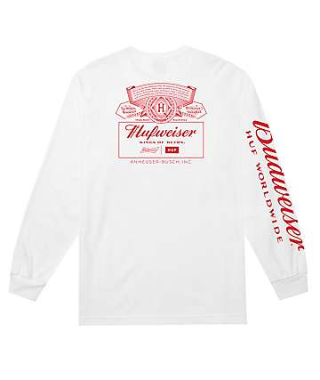 HUF x Budweiser Pit Crew White Long Sleeve T-Shirt