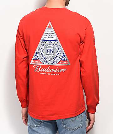 HUF x Budweiser Triangle Red Long Sleeve T-Shirt