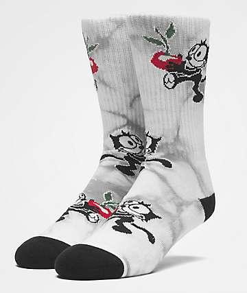 HUF x Felix The Cat Crystal Wash Black Crew Socks