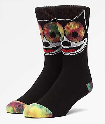 HUF x Felix The Cat Hypnotize Black Crew Socks