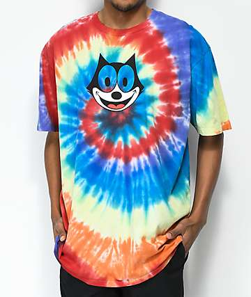 HUF x Felix The Cat Hypnotize Spiral Rainbow Tie Dye T-Shirt