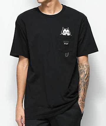 HUF x Felix The Cat Watching Pocket Black T-Shirt