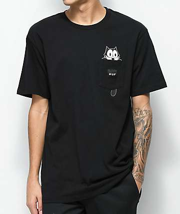 HUF x Felix The Cat Watching camiseta negra con bolsillo