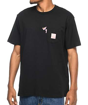 HUF x Pink Panther camiseta negra con bolsillo