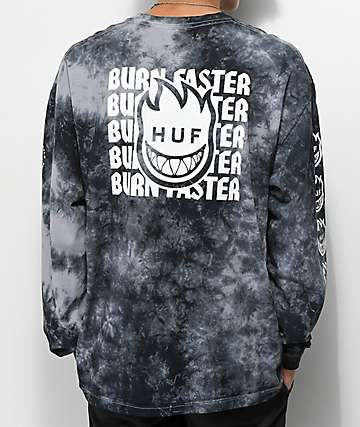 HUF x Spitfire Burn Faster Black Crystal Wash Long Sleeve T-Shirt