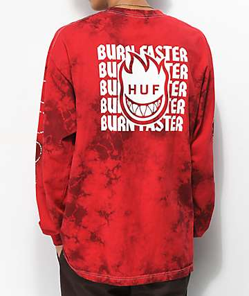 HUF x Spitfire Burn Faster Red Crystal Wash Long Sleeve T-Shirt