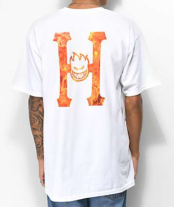 07123ba7882e HUF x Spitfire Flaming H White T-Shirt