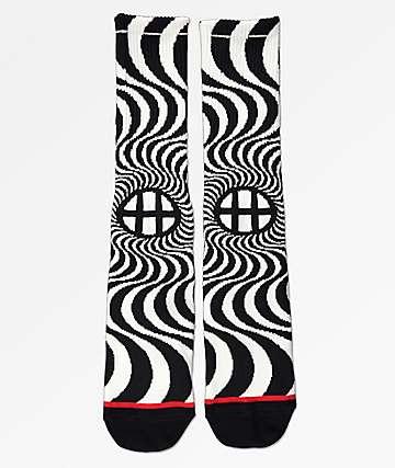HUF x Spitfire Swirl Black & White Crew Socks