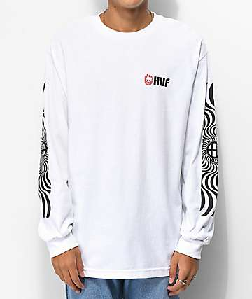 HUF x Spitfire Swirl White Long Sleeve T-Shirt