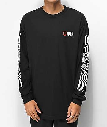 HUF x Spitfire Swirls camiseta negra de manga larga 251344a926904
