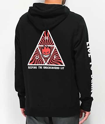 HUF x Spitfire Triangle sudadera con capucha negra
