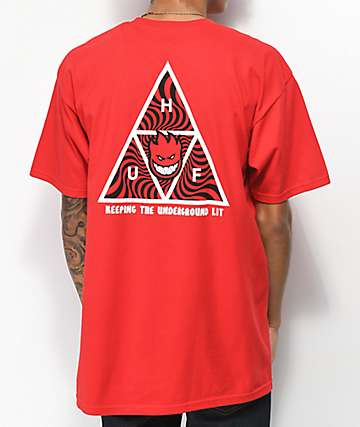 HUF x Spitfire Triple Triangle Red T-Shirt
