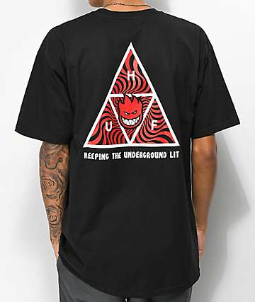 HUF x Spitfire Triple Triangle camiseta negra