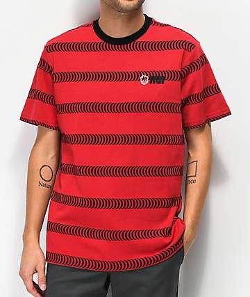 HUF x Spitfire camiseta roja de rayas