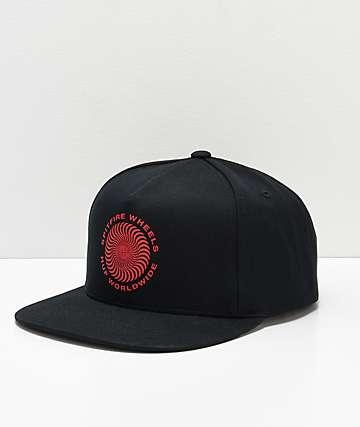 HUF x Spitifre Swirl Black Snapback Hat