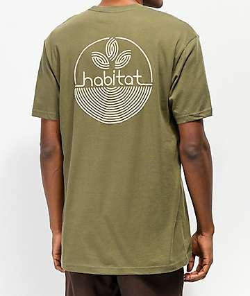 Habitat camiseta verde con logo de líneas