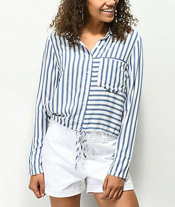 Haitus Blue & White Stripe Tie Front Button Up Shirt