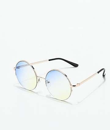 Half Frame Blue & Yellow Round Sunglasses