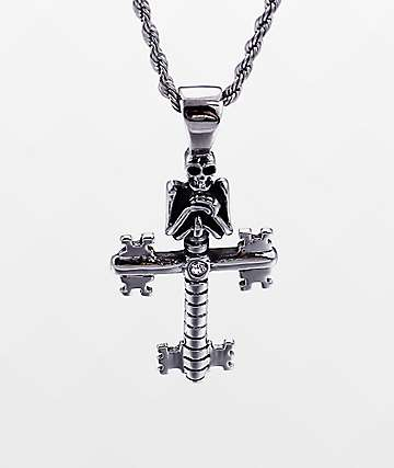 """Half Hearted Skeleton Key Cross 22"""" Rope Chain Necklace"""