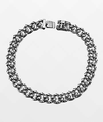 Half Hearted Skull Cuban Chain Choker Necklace