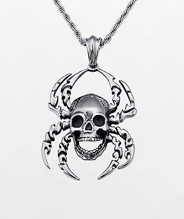 """Half Hearted Spider Skull 22"""" Rope Chain Necklace"""