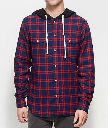 Halfwits Colling camisa de franela en rojo y azul marino con capucha