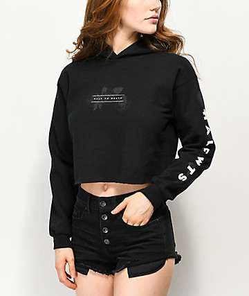Halfwits Half To Death Love Me Black Crop Hoodie