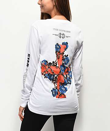 Halsey Flowercross White Long Sleeve T-Shirt