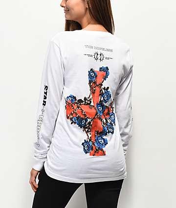Halsey Flowercross White Long Sleeve T-Shirt
