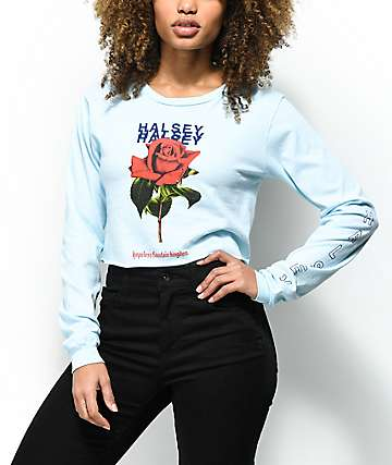 Halsey Rose Light Blue Long Sleeve Crop T-Shirt