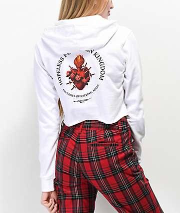 Halsey Sword Heart White Crop Hoodie
