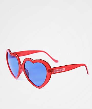 Happy Hour Heart Ons Glitter Red & Purple Sunglasses