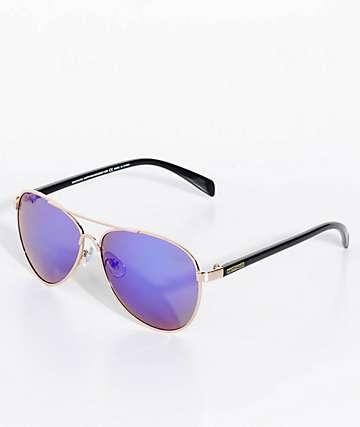Happy Hour Mavericks Gold & Black Mirror Sunglasses