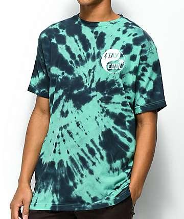 Happy Hour Stay Cool camiseta con efecto tie dye en verde azulado y negro