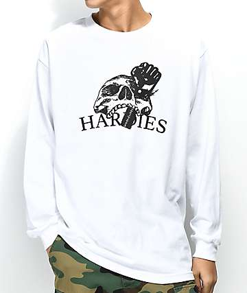 Hardies Hardware Skull White Long Sleeve T-Shirt