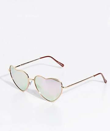 Heart Of Rose Gold Mirrored Sunglasses