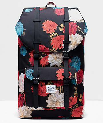 Herschel Little America Vintage Floral & Black Backpack