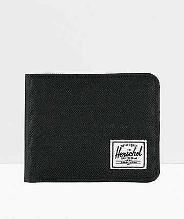 Herschel Roy Black Canvas Bifold Wallet