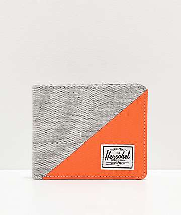 Herschel Roy Light Grey and Orange Bifold Wallet