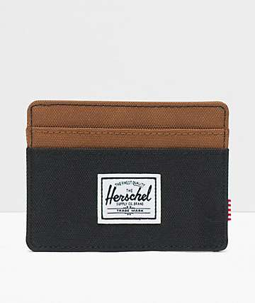 Herschel Supply Co. Charlie Black & Saddle Brown Cardholder Wallet