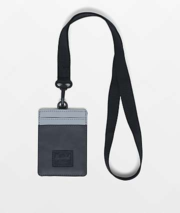 Herschel Supply Co. Charlie Black & Silver Reflective Lanyard Wallet